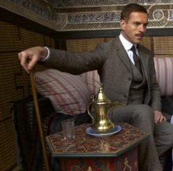 Damian Lewis in a natty Edwardian suit