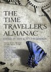 Book cover: The Time Travelers Almanac - Ann and Jeff Vandermeer - textured background of cogs and a blue butterfly sat on the foreground