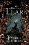 Book cover: The Wise Man's Fear - Patrick Rothfuss a redhead in black with a shiny sword, silhouetted except for that glint of hair between autumnal leaves