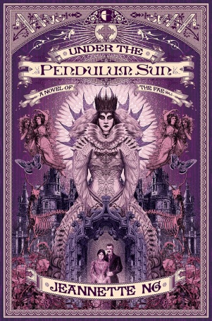 Book cover: Under the Pendulum Sun - Jeanette Ng (purple hued, woman in fabulously spiky dress)