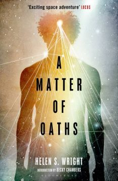 Book cover: A Matter of Oaths - Helen S Wright (a silhouetted man overlaid with a web of light)