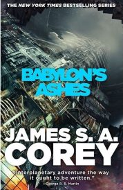 Book cover: Babylon's Ashes - James S A Corey (spaceship exterior. As usual)