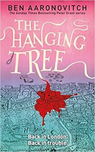 Book cover: The Hanging Tree - Ben Aaronovitch (pinky-purple cast to a map of London, Mayfair dripping blood)