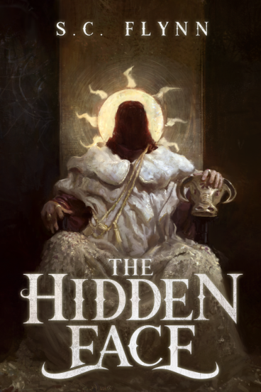 Book cover: The Hidden Face - S C Flynn (a seated person in robes holding a bull mask, their face obscured)