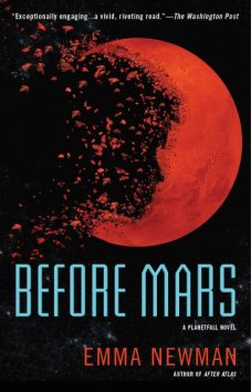Book cover: Before Mars - Emma Newman (a silhouetted face across a red planet)