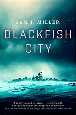 Book cover: Blackfish City - Sam J Miller (a city seen across the sea)