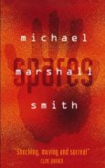 Book cover: Spares - Michael Marshall Smith (a handprint on a red background)