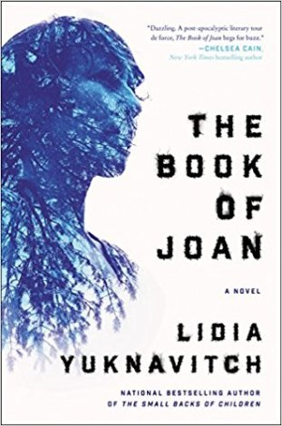 Book cover: The Book of Joan - Lidia Yuknavitch (a person in profile silhouetted in blue)