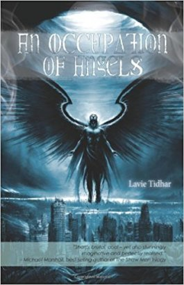 Book cover: An Occupation of Angels - Lavie Tidhar (silhouette of an angel on a teal backdrop, a city skyline at their feet)