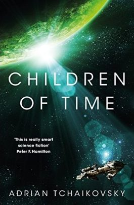 Book cover: Children of Time - Adrian Tchaikovsky (a spaceship in orbit above a green planet)