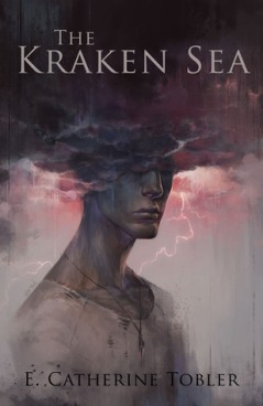 Book cover: The Kraken Sea - E Catharine Tobler (painting of a person with their head in stormclouds, all menacing greys and pink lightning)
