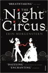 Book cover: The Night Circus - Erin Morgenstern (a man and a woman in white silhouette against a black background, linked by a red scarf)