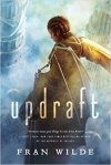 Book cover: Updraft - Fran Wilde (a figure up aheight, seem from behind, looking down at towers and cloud)