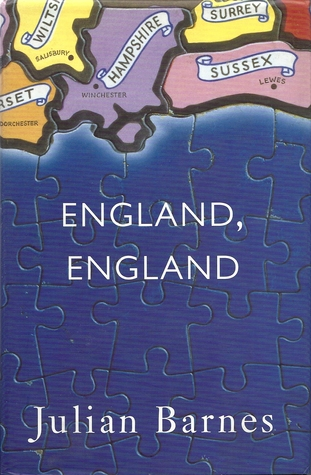 Book cover: England England - Julian Barnes (map of the south coast of England as a jigsaw puzzle)
