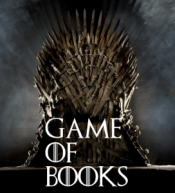Image of the Iron Throne with text GAME OF BOOKS