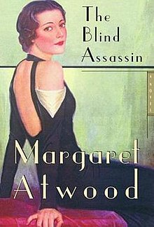 Book cover: The Blind Assassin - Margaret Atwood (a young woman with marcelled hair sits on a bed and looks back over her shoulder)