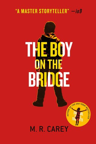 Book cover: The Boy On The Bridge - M R Carey (a boy silhouetted against a red background)