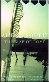 Book cover: The Map of Love - Ahdaf Soueif (a dhow on the Nile in shades of green)