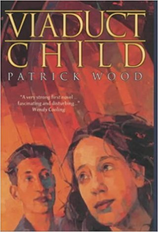 Book cover: Viaduct Child - Patrick Wood (two children's faces against a red background)