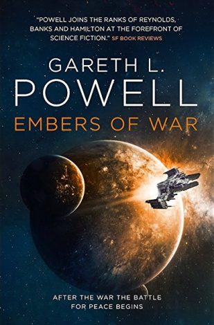 Book cover: Embers of War - Gareth L Powell a spaceship flying away from a reddish planet