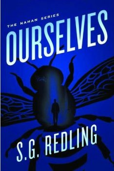 Book cover: Ourselves - S G Redling (a silhouette of a winged insect on blue)