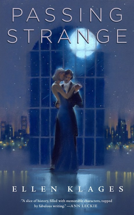 Book cover: Passing Strange - Ellen Klages (two people dancing in a ballroom at night)