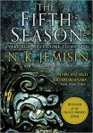 Book cover: The Fifth Season - N K Jemisin (a close up illustration of a decorative stone carving)