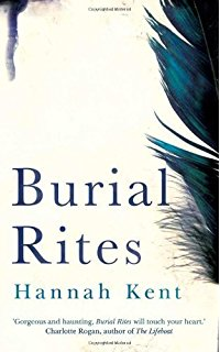 Book cover: Burial Rites - Hannah Kent (a blue feather on a white background)