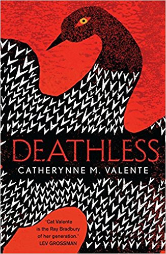 Book cover: Deathless - Catherynne Valente (illustration, bird in black and white on a field of red)