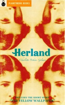 Book cover: Herland - Charlotte Perkins Gilman (a woman's head reflected 4 times)