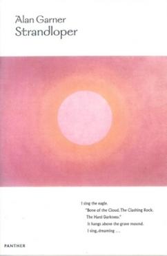 Book cover: Strandloper - Alan Garner (illlustrated, the sun on a field of pink)