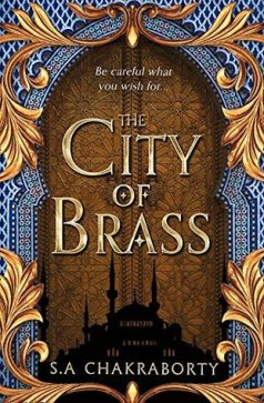 Book cover: The City of Brass - S A Chakraborty (minarets silhouetted against a carved door)