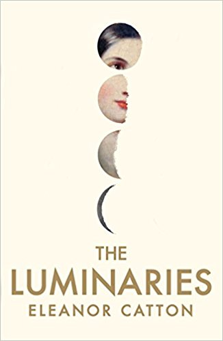 Book cover: The Luminaries - Eleanor Catton (a painting of a woman glimpsed through semicircular cutouts)