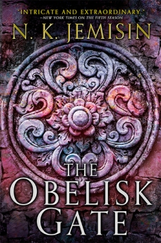 Book cover: The Obelisk Gate - N K Jemisin (a floral boss in pink/purple)