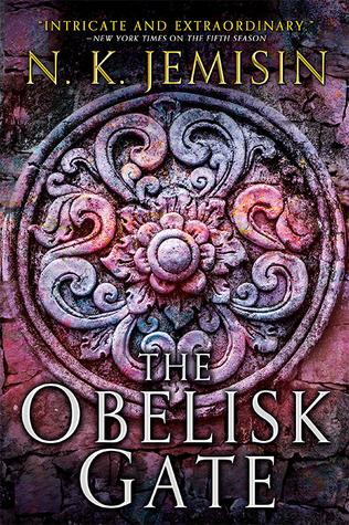 Book cover: The Obelisk Gate - N K Jemisin (a floral boss in pink/purple)