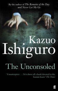 Book cover: The Unconsoled - Kazuo Ishiguro (hands in a piano playing position)