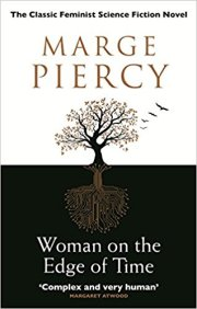 Book cover: Woman on the Edge of Time - Marge Piercy (a tree silhouetted on white and reflected below on black)
