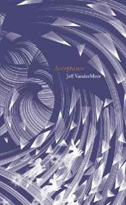 Book cover: Acceptance - Jeff Vandermeer (white etching on purple of abstract curves, triangles and rabbits)