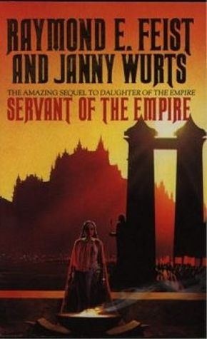 Book cover: Servant of the Empire - Janny Wurts (a woman praying over a brazier with a prayer gate in the sunset background)