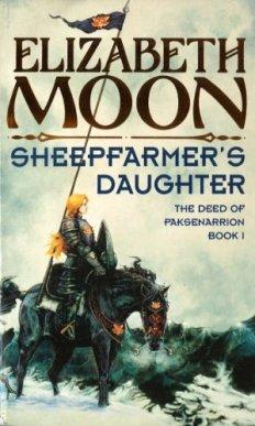 Book cover: Sheepfarmers Daughter - Elizabeth Moon (a blonde in platemail on horseback)