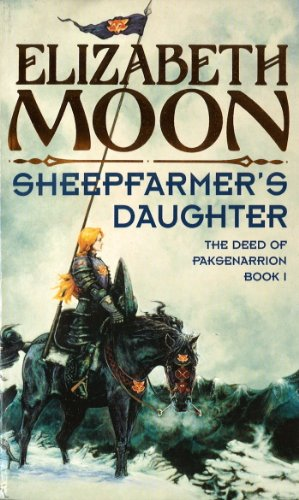 Book cover: Sheepfarmers Daughter - Elizabeth Moon (a blonde in platemail on horseback)