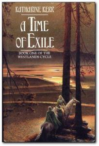 Book cover: A Time of Exile - Katharine Kerr (a man and a woman on horseback under some trees)