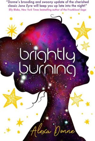 Book cover: Brightly Burning - Alexa Donne (purple-pink sky silhouette of a young woman's head against a white background with yellow stars; illustrative style)