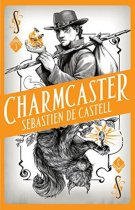 Book cover: Charmcaster - Sebastien de Castell (an orange playing card, with a young man in a hat on top and a squirrel cat on the bottom)