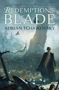 Book cover: Redemptions Blade - Adrian Tchaikovsky (a person with really good pony tail action stares at a leaning tower)
