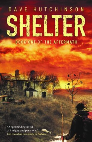 Book cover: Shelter - Dave Hutchinson (a man walks towards a cottage against a lurid red-yellow sky)