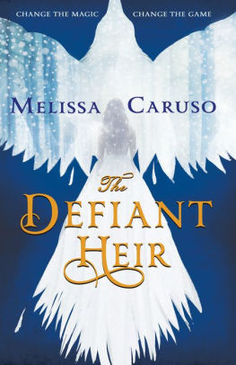 Book cover: The Defiant Heir - Melissa Caruso (a white bird silhouetted on a blue background, its tail suggesting a woman in a white ball gown)