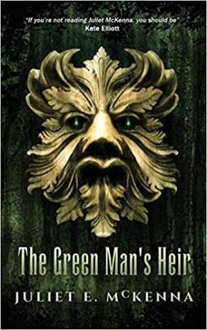 Book cover: The Green Man's Heir - Juliet McKenna (a stylised leonine or ursine face made of leaves, cast in gold or bronze)