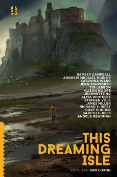 Book cover: This Dreaming Isle - a figure walks along a shore