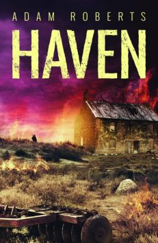 Book cover: Haven - Adam Roberts (a barn against a lurid sky)